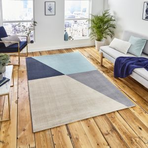 Vancouver 18487 Grey Blue Geometric Rug by Think Rugs
