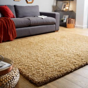 Veloce Gold Shaggy Rug by Flair Rugs