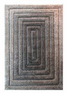 Velvet 3D Concentric Grey Shaggy Rug by Flair Rugs