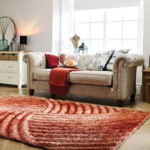 Verge Furrow Terracotta Rug by Flair Rugs