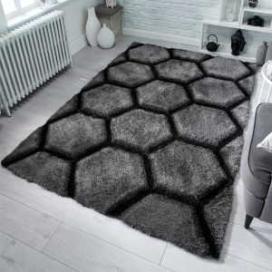 Verge Honeycomb Charcoal Rug by Flair Rugs