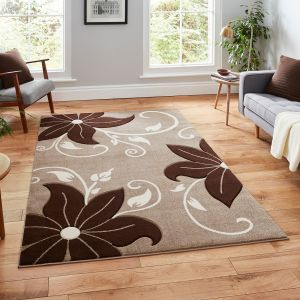 Verona OC15 Beige Brown Floral Rug By Think Rugs