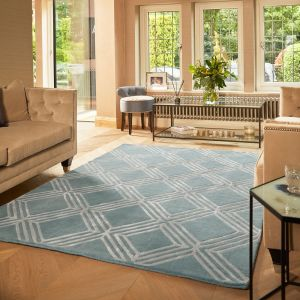 Vienna Blue Geometric Wool Rug by Origins