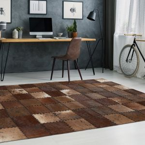 Voila 100 Brown Leather Rug by Arte Espina