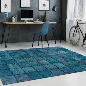 Voila 100 Turquoise Leather Rug by Arte Espina
