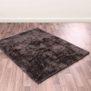 Whisper Charcoal Plain Shaggy Rug by Rug Style