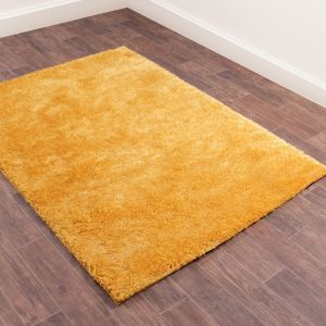 Whisper Gold Plain Shaggy Rug by Rug Style