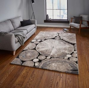 Think Rugs Woodland 6318 Beige/Black Rug