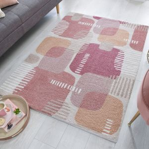 Zest Pop Terracotta Geometric Rug by Flair Rugs