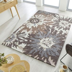 Zest Soft Floral Natural Rug by Flair Rugs