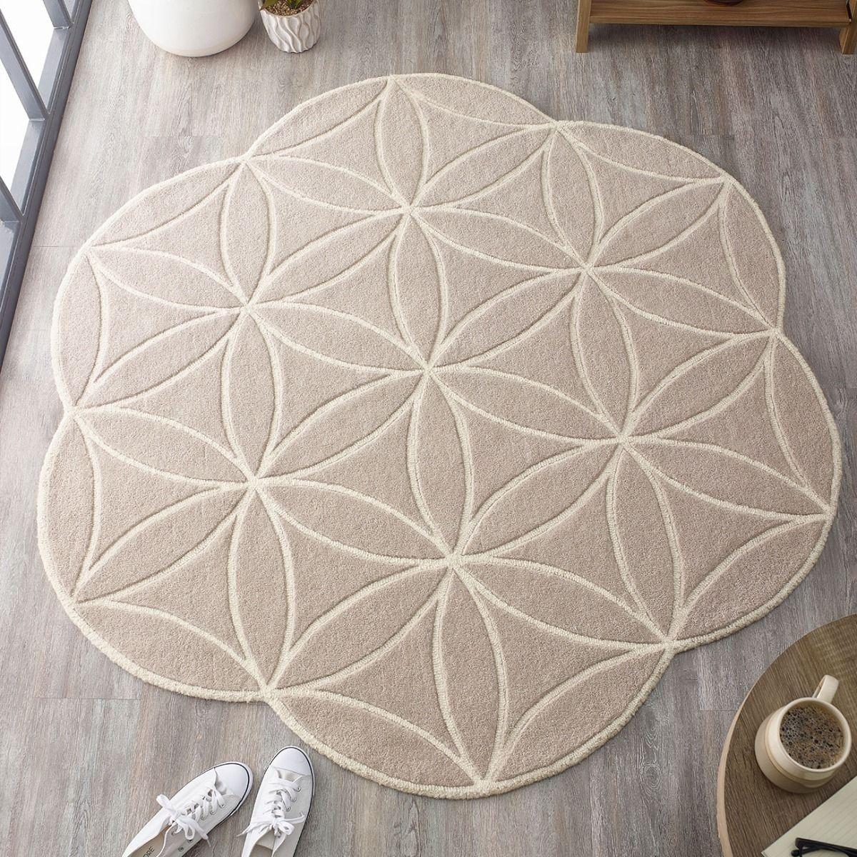 Buy Bloom Grey Abstract Wool Circle Rug Therugshopuk