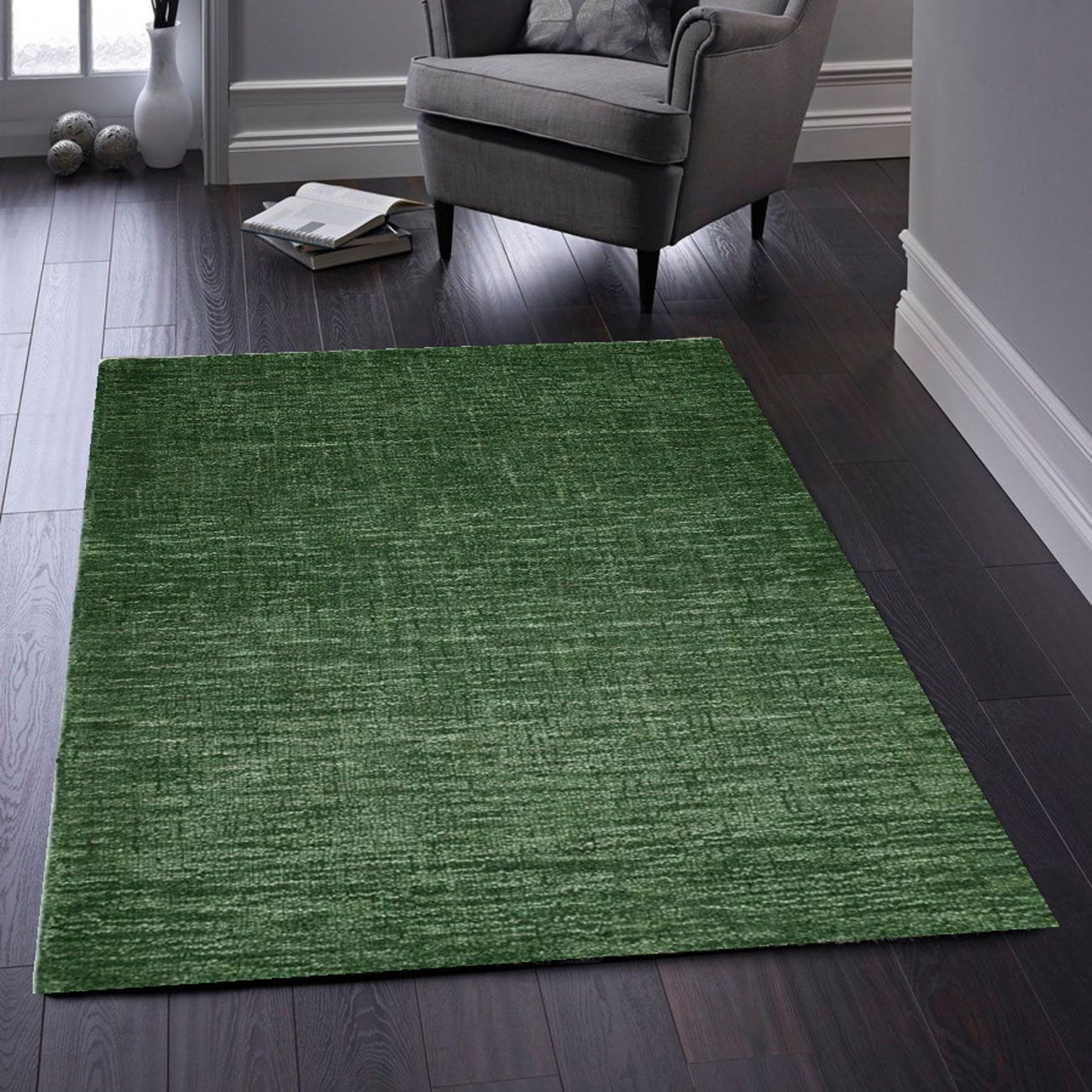 Shop Country Tweed Forest Green Plain Wool Rug Therugshopuk