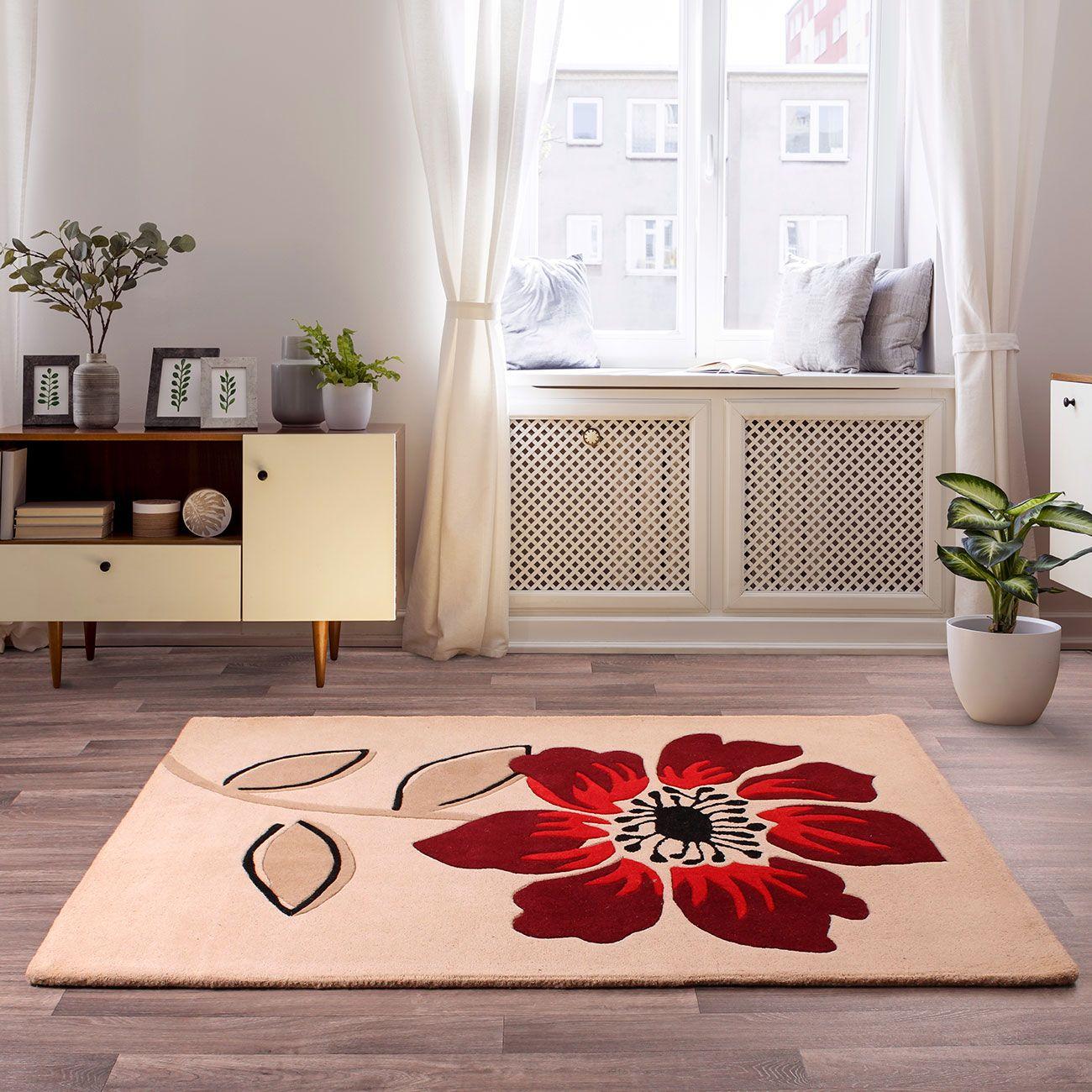 Floral Red Rug Wool Rug Therugshopuk