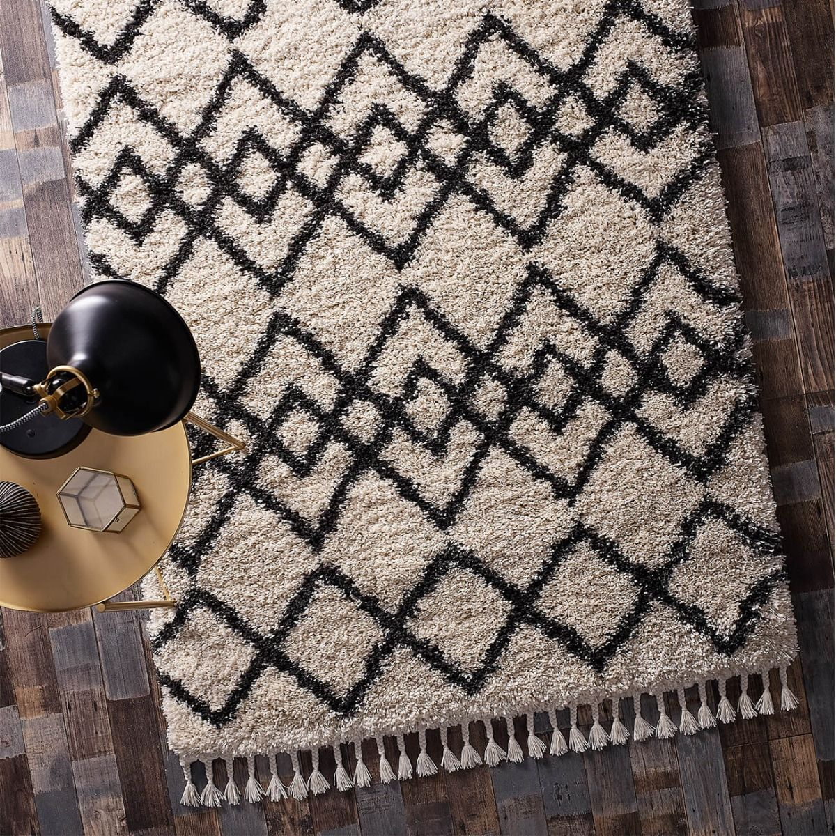 Buy Morocco Ivory Charcoal Geometric Rug Therugshopuk