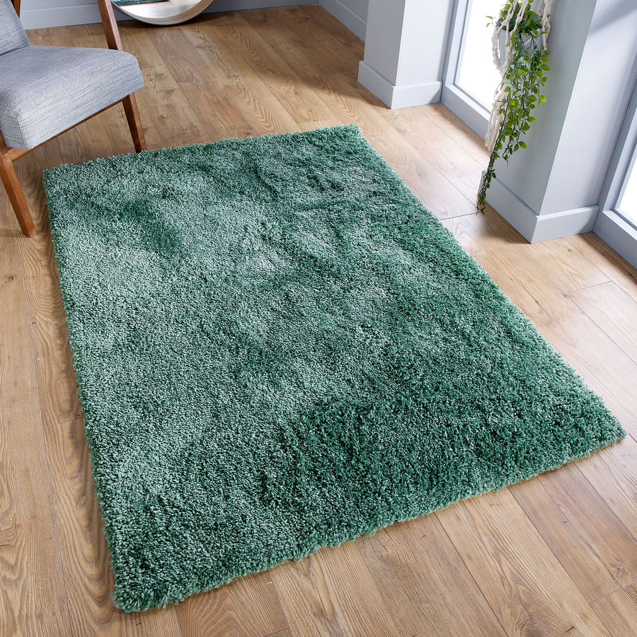 Serene Sage Green Plain Shaggy Rug By Oriental Weavers