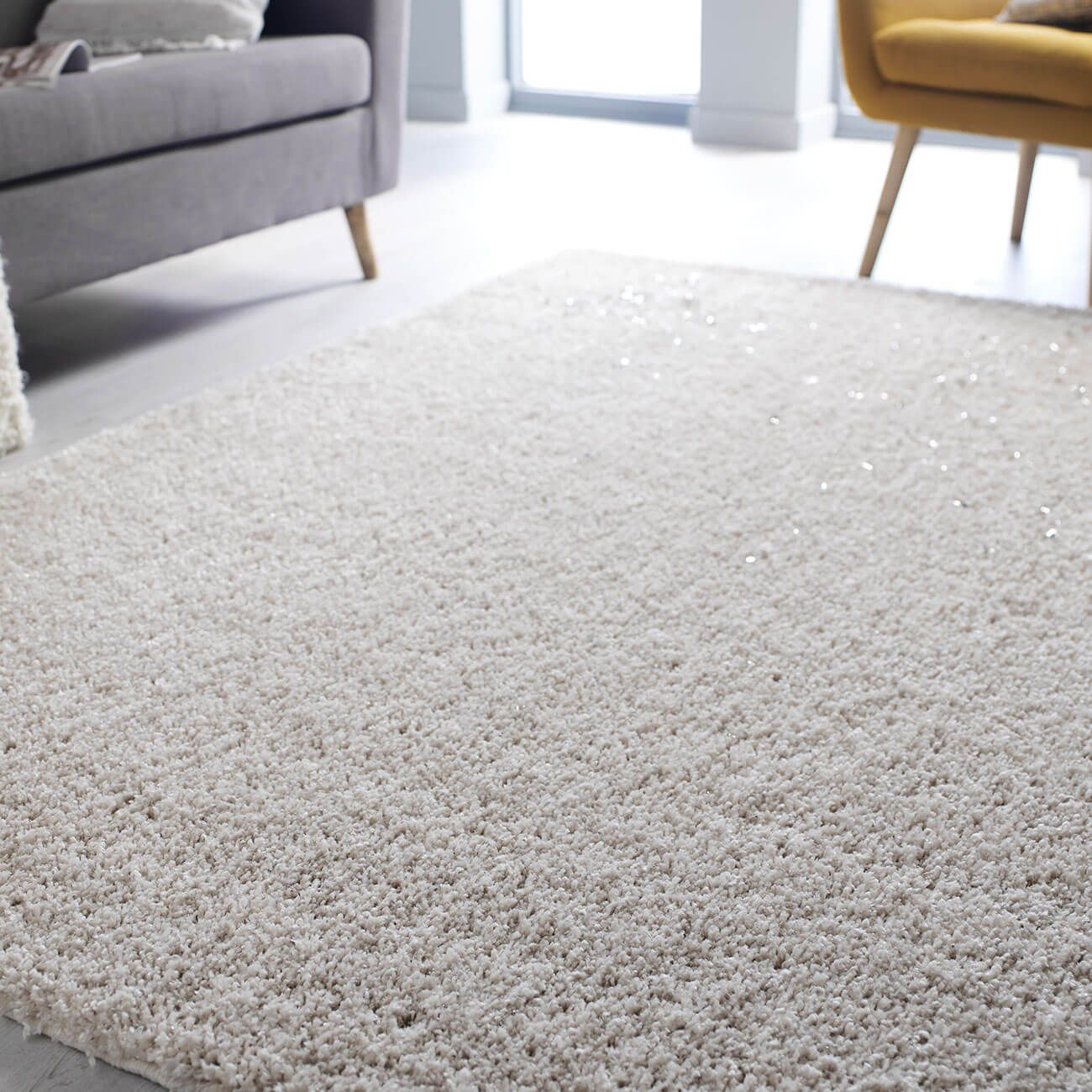 Great Value Veloce Ivory Shaggy Rug At TheRugShopUK