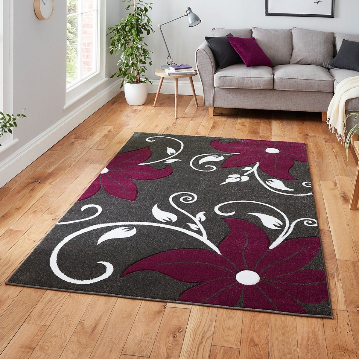 Oc15 Grey Purple Floral Rug By Think Rugs Therugshopuk